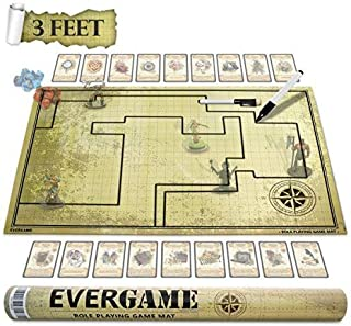 Reusable Double-Sided EverGame DND Mat for Usage with Dungeons and Dragons Board Game, DND Miniatures, d&d Starter Kits, dm Screen, Gaming mats, Battle mat, DND Figurines - 2 Black Markers Included