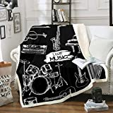 Guitar Fleece Throw Blanket for Sofa Couch Drum Kit Piano Music Themed Sherpa Blanket Black White Musical Pattern Warm Plush Blanket Room Decor Instruments Print Fuzzy Blanket Throw 50'x60'