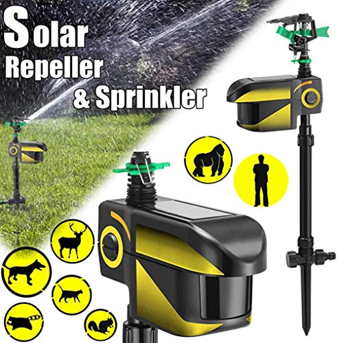 Mustbe Strong Solar Powered Motion Activated Animal Repeller Automatic Rotating Lawn Sprinkler Irrigation System Adjustable Large Area Garden Animal Deterrent Reject