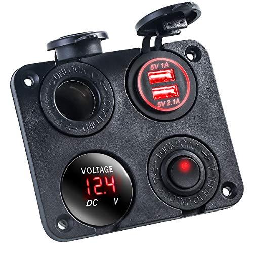 Panel de interruptor basculante con doble puerto USB, voltímetro dual USB, impermeable, 12 V-24 V DC Rocker Switch con brillo nocturno para coches, camiones, barcos y vehículos recreativos