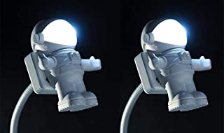 NVTED 2 PCS USB LED Reading Light Lamp, Creative Spaceman Astronaut Eye-Care Flexible USB Light LED Laptop Lamp On/Off Swi...