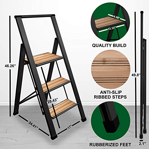 Sorfey Aluminum/Bamboo Folding 3 Step Ladder, Anti Slip, Sturdy, Slim Design, Heavy Duty, Black