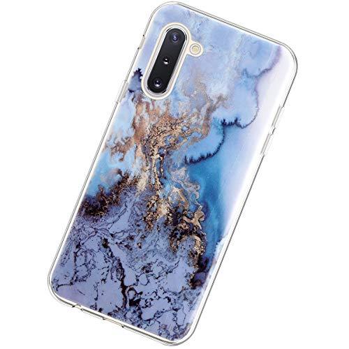 Coque Compatible avec Samsung Galaxy Note 10,Marbre Pierre Créatif Motif Ultra Mince TPU Silicone Transparent Étui Housse Souple Crystal Poids léger Gel Antichoc Bumper Cover,Mer Bleue