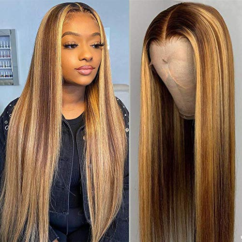 Long 13X1 Deep Part Lace Front Human Hair Wig Straight Highlight Brown Honey Blonde Color Hair Pre Plucked Brazilian Virgin Hair Wigs with Baby Hair 150% Density Bleached Knots 24 Inch