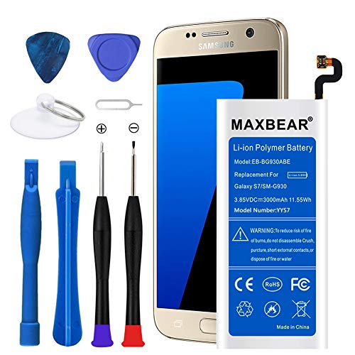 Galaxy S7 Battery, MAXBEAR 3000mAh Li-Polymer Battery EB-BG930ABE Replacement for Samsung Galaxy S7 SM-G930 G930V G930A G930T G930P G930F with Screwdriver Tool.[12 Month Warranty]