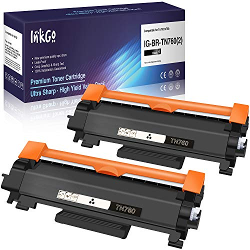 InkGo Compatible Toner Cartridge Replacement for Brother TN760 (Black, 2-Pack) (IG-TN760(2))
