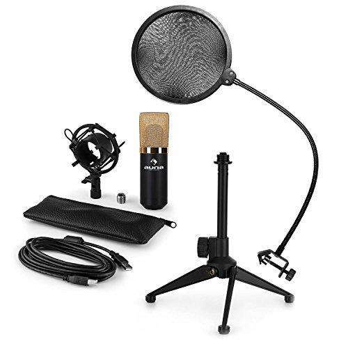 auna MIC-900BG - Mikrofon-Set V2, 3-teilig, USB Kondensatormikrofon + Popschutz + Mikrofon-Tischständer, Nierencharakteristik, Plug & Play, 35cm Schwanenhals, höhenverstellbar, schwarz-gold