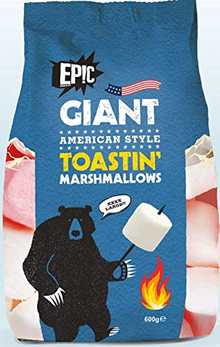 Epic Giant Extra Large American Style Marshmallows - 600 Grams - Perfect for Barbeque, Bonfire Roast, Toastin' & Smores