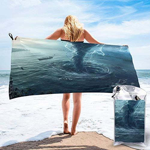 Toallas de Playa de Antiarena de Microfibra para Hombre Mujer, 130x80cm, Toallas Baño Calidad Gigante Secado Rapido para Piscina, Manta Playa, Toalla Yoga Deporte Gimnasio,Tornado de fantasía