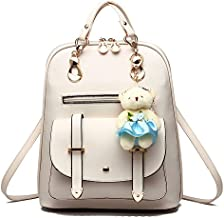 BAG WIZARD Women Small Backpack with 9 Pockets Girls Cute Tiny Purses for Travel Everyday Bag Pack (white)