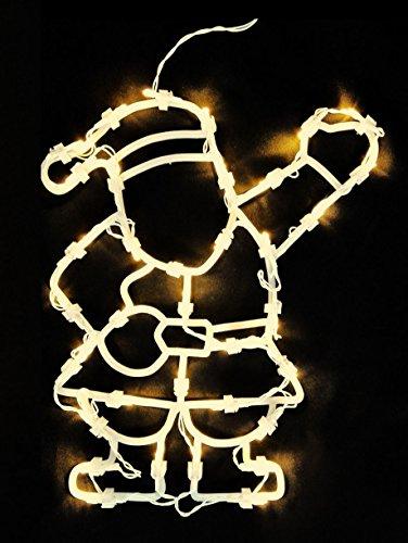 Fensterbild Nikolaus 35 LED - Fensterdeko mit Timer - Weihnachtsmann beleuchtet
