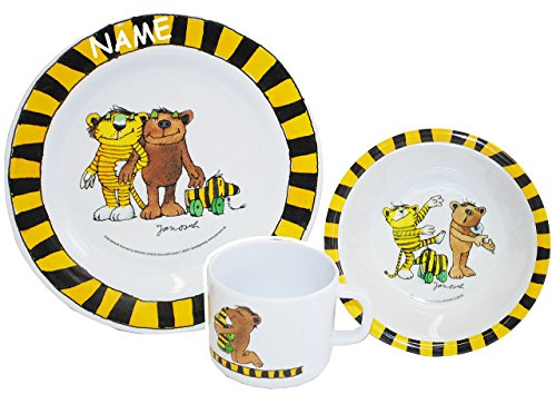 alles-meine.de GmbH 3 TLG. Geschirrset:  Janosch / Tigerente - Tiger & Bär - incl. Namen - Melamin Set - Henkelbecher + Teller + Müslischale - Kindergeschirr - Frühstücksset / ..