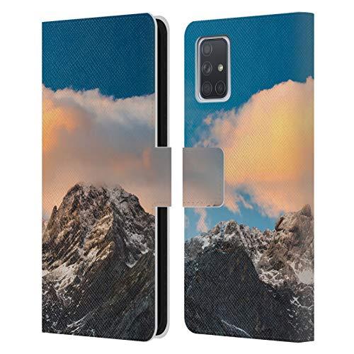 Head Case Designs Brennende Wolken über Bergen Majestätische Bergen bei Sonnenuntergang Leder Brieftaschen Handyhülle Hülle Huelle kompatibel mit Samsung Galaxy A71 (2019)