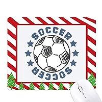 サッカー・スポーツ・スケッチ ゴムクリスマスキャンディマウスパッド