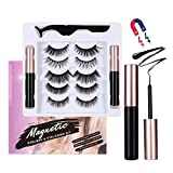 LASHVIEW Magnetic Eyelashes with Eyeliner,2 Tubes of Magnetic Eyeliner & 5 Pairs,Magnetic Eyelashes,Magnetic Eyelashes Kit,Reusable Magnetic Eyelashes,No Glue Needed and Natural Look.