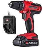 NoCry 20V Cordless Drill/Driver - 266 in-lb (30 N.m) Max Torque, 2 Gear Speeds (Max 1400 RPM), 3/8 inch Chuck, 21+1 Clutch Positions, LED work light; 1.5 Ah Battery & Fast Charger Included (Kit)