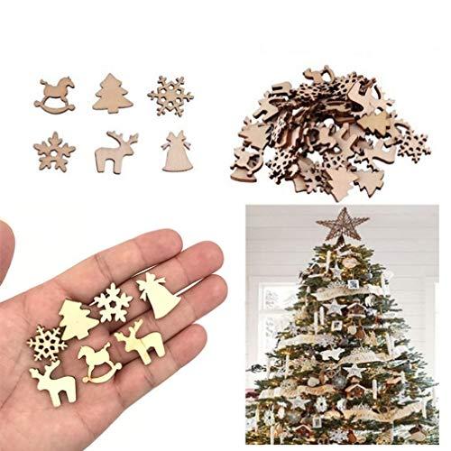 DDG EDMMS 50Pcs Sculpture de Noël en Bois Naturel décorations de Sapin Pendentif Pendentif de fête Déco (Mixte) Décoration de Noël