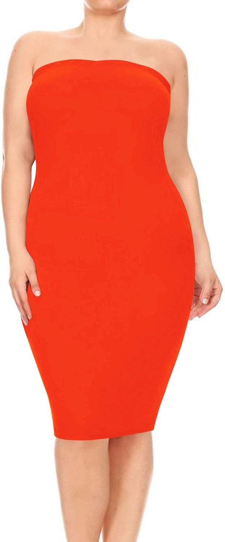 Women's Plus Size Strapless Basic Elastic Tube Top Slim Fit Bodycon Solid Midi Dress