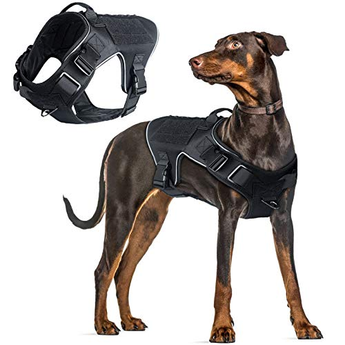 VICARKO Tactical Dog Harness, Tactical Dog Vest, No Pull Harness, Reflective, Waterproof, MOLLE System, for Walking, Traning, Military, Black, Extra Large Size, 80-100 lbs