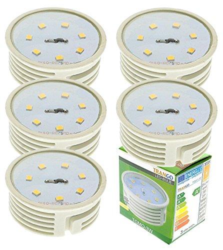 Trango 5er Pack 3000K warmweiß 3 Watt LED Modul Ultra flach nur 3cm hoch zum Austauschen GU10 & MR16 Halogen Leuchtmittel 5TGMO-3W für Einbauleuchte, Deckenstrahler, Einbaustrahler, Deckenleuchte