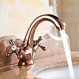 Grifo Grifo De Lavabo De Baño Vintage + Tubo De Oro Rosa Cobre Antiguo Agua De Cocina Grifo De Lavabo Grifo Retro Grifo De Dos Plazas Caliente Y Frío