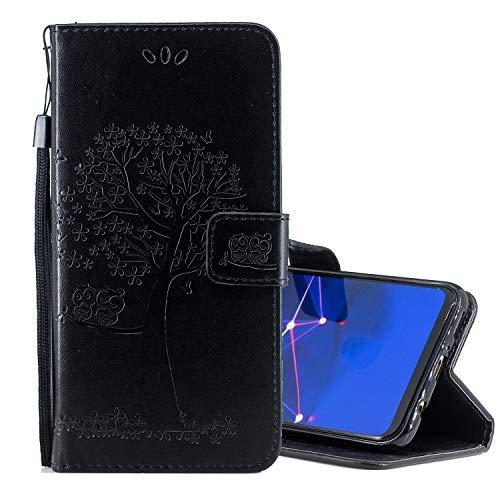 Nadoli Flip Handyhülle für Huawei Y7 2019,Schutzhülle Pu Leder Lustig Geprägt Baum Eule Magnetverschluss Wallet Brieftasche Lederhülle Etui mit Standfunktion für Huawei Y7 2019