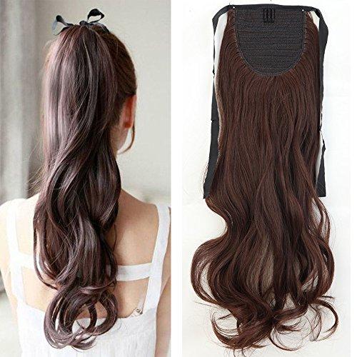 Coleta postiza ondulada de 45,72 cm, extensión de cabello (fijación por cinta)