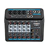 N&W Audio Mixer 6-Channel USB Mixing Console Digital Audio Mixer Supports BT Connection Easy Monitoring and Operation (Color : Black Size : One Size)