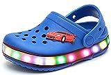 FANTASIEN Children Boys Girls LED Clog Flash Lighted Summer Beach Shoes Walking Slippers Unisex Sandal Animals Shoe (asin 26(9M US Toddler), Blue)