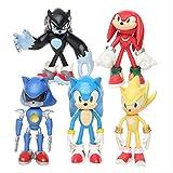 ZYJFP Sonic The Hedgehog Figura de Juguete, 5 Piezas/Juego Sonic Shadow Tails Llavero Personajes Figura 6cm PVC estatuas de pie,Regalos dejuguete como Decorativos los Mejores Regalos para umpleaños
