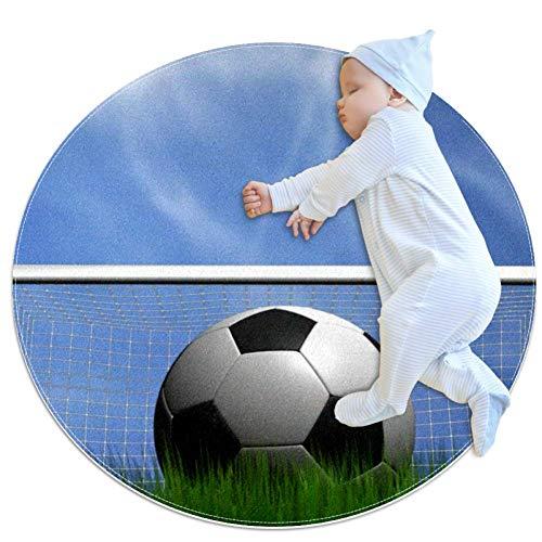 Wetia Fußballtor Runder Teppich für Kinder, rutschfeste Außenteppiche, weich, mit Einer Wildlederoberfläche als Geschenk für Kinder im Wohnzimmer und im Kinderzimmer 100 cm