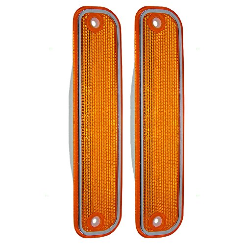 Aftermarket Replacement Driver and Passenger Set Front Signal Side Marker Lights with Chrome Trim Compatible with 1973-1980 C/K Pickup Truck Suburban Blazer Jimmy 6270434