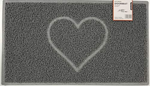 HEART Embossed Shape Door Mat Dirt-Trapper Jet-Washable Doormat【Use Indoor or Sheltered Outdoor 】 (60x40cm/23.6x15.7inches, Small) GREY