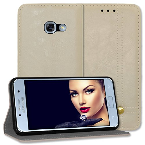 mtb more energy® Schutz-Tasche Prestige für Samsung Galaxy A5 2017 (SM-A520, 5.2'') - grau - Kunstleder - Bookstyle Wallet Cover Hülle Hülle