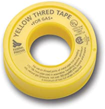 Gasoila Yellow PTFE High Density Thred Tape Roll, -450 to 550 Degree F Performance Temperature, 3.8 mil Thick, 520