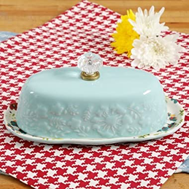 The Pioneer Woman Kari 8-Inch Butter Dish Floral Design on Base