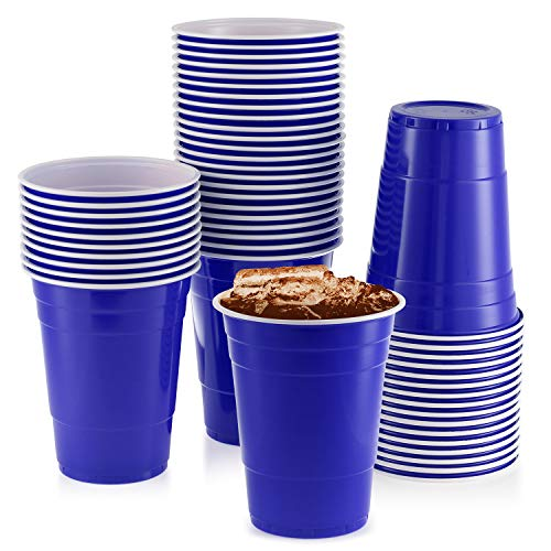Blue Cups, [50 Pack] 16 oz Disposable Plastic Cup, Big Birthday Party Cups