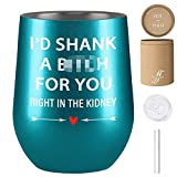 Friendship Gifts for Women, Best Friend, Sister Gifts from Sister, Best Friend Birthday Gifts for Women, Friends Female - Funny Christmas Gifts for Women - Fancyfams Wine Tumbler (Shank a B-Turquoise)