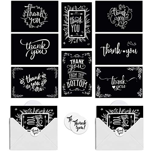 Thank You Cards, 48 Pack 8 Designs Chalkboard Thank You Notes with Envelopes and Stickers, Blank Inside Greeting Cards for Mother 's Day, Wedding, Baby Shower, Business and All Occasions 4x6in