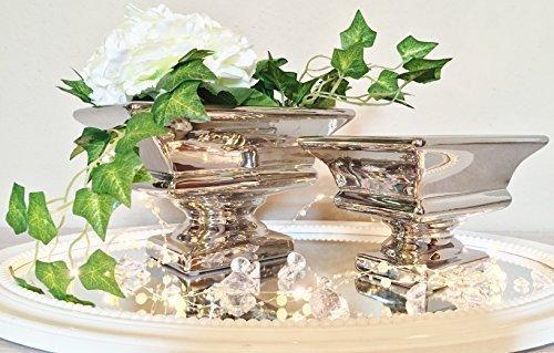 DRULINE Keramik Dekoschale Schale Tisch Deko Hochglanz Keramikschale Silber Shabby Chic (Klein)