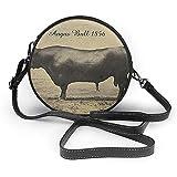TURFED Carne Angus Bull Vintage París Negro Vaca Ronda de moda de la PU Crossbody del bolso de hombro Ronda bolsa para muchachas de las mujeres