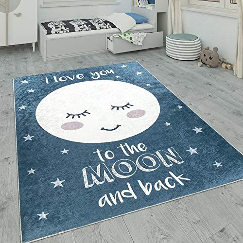 Paco Home Kinderteppich, Waschbarer Kinderzimmer Teppich m. Stern, Mond u. Karo Motiven, Grösse:80x150 cm, Farbe:Blau