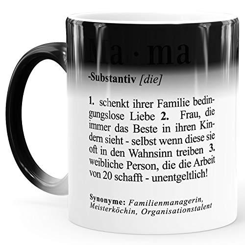 MoonWorks® Zaubertasse Mama Definition Farbwechsel Tasse Geschenk für Mutter Muttertagsgeschenk Dictionary Duden Wörterbuch Mama weiß Magic-Tasse