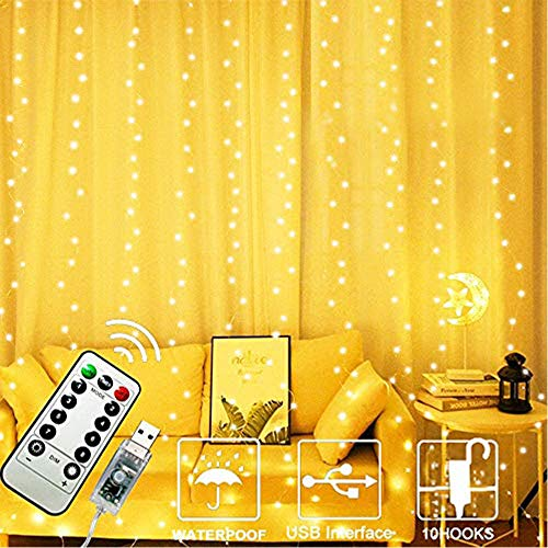 FANSIR 300 LED Curtain String Lights, Upgraded USB Window Fairy Lights 3mx3m 8 Modes Remote Timer Fairy Light Waterproof Copper String Lights for Outdoor Indoor Wedding Bedroom Decoration (Warm White)