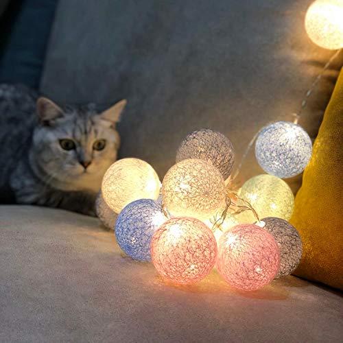 Guirnalda de luces LED con batería, ideal para interiores, 3,1 m, con 20 bolas de algodón, luces de Navidad, ideal para pared, como decoración navideña, fiestas, bodas, hogar, color blanco