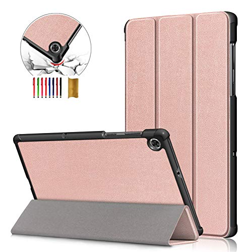 APOLL Case for Lenovo Tab M10 Plus, PU Leather Trifold Stand Corner Protection Lightweight Minimalist Series Case for Lenovo Tab M10 Plus 10.3 inch Android Tablet 2th Generation 2020 Release, Rosegold