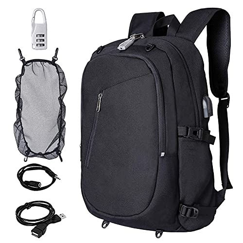 Suytan Anti-Theft Laptop Backpack,Outdoor Computer Bag,Anti Theft Water Resistant College School Bookbag,Backpack/USB Charging Port Fits up To15.6 inch Laptop,Gray,Black