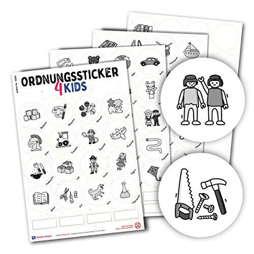 Typographus - 104 kindgerechte Aufkleber für Spielzeugkisten, Boxen & Möbel - Sorgen für Ordnung im Kinderzimmer - Ordnungssticker, Lernen, Aufbewahrung, Ordnungssystem Grau