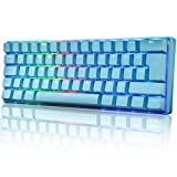 UK Layout 60% True Mechanical Gaming Keyboard Type C Wired 61 Keys LED Backlit USB Waterproof Keyboard 14 Chroma RGB Backlight Full Anti-ghosting Keys for Computer/PC/Laptop/MAC (Blue/Blue Switch)