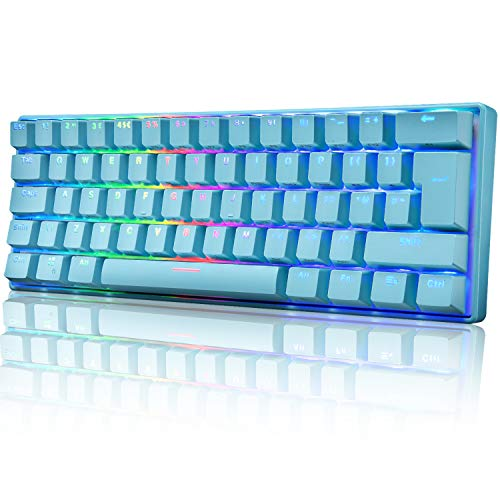 UK Layout 60% True Mechanical Gaming Keyboard Type C Wired 61 Keys LED Backlit USB Waterproof...